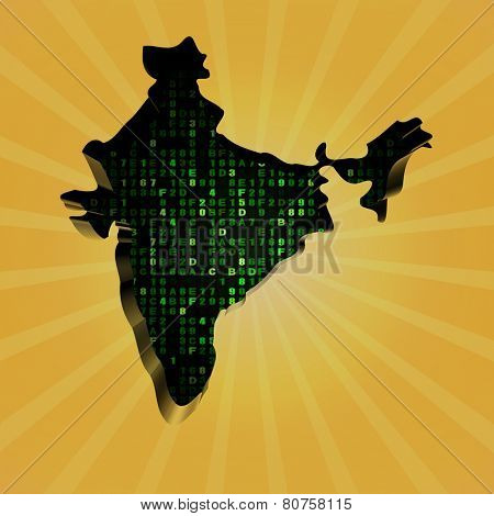 India sunburst map with hex code illustration