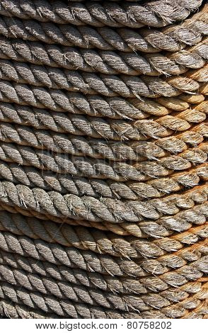 Rope coiled in tight even rows