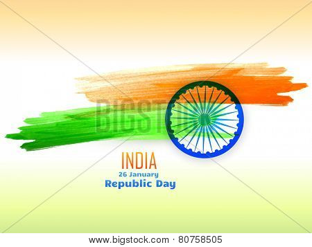 republic day design celebrated on 26 january made with color strokes vector design