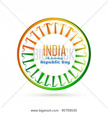 vector indian wheel with tri colors of indian flag
