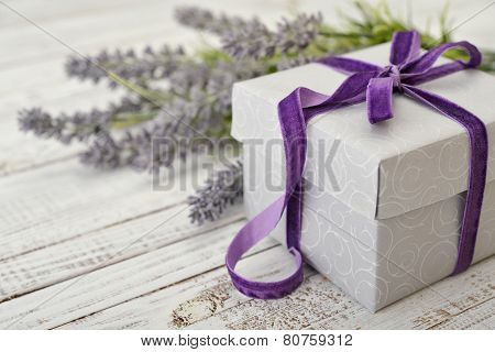 Gift Box With Violet Ribbon