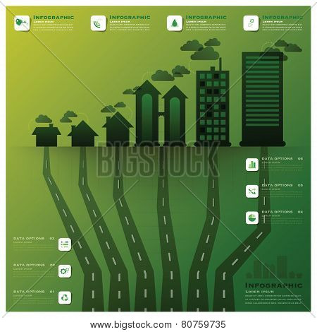 Pollution Tree And Root Infographic Design Template
