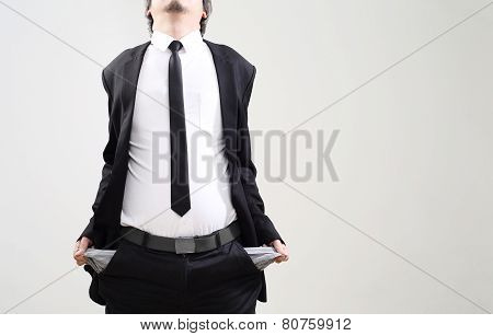 businessman acting display that symbol of bankrupt