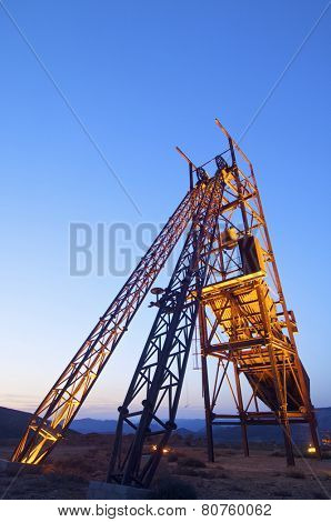Old metal structure employed in mining work, Teruel, Aragon, Spain.