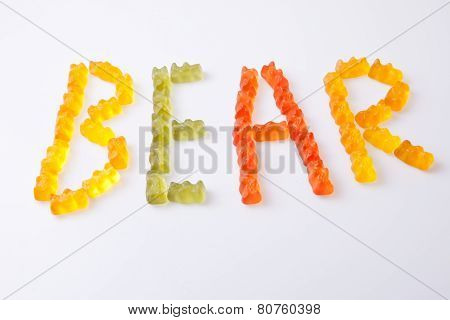 Word Bear With Gummy Bears