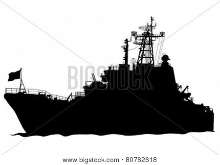 Silhouette of a large warship on a white background