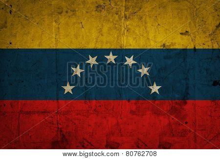 Venezuela flag on old paper