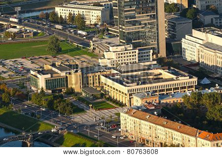 VILNIUS, LITHUANIA - 17 SEPTEMBER, 2014:  The Lithuanian Parliament Building in Vilnius