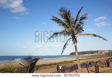 View Of Pedestrian Walkway At Beachfront, Durban South Africa