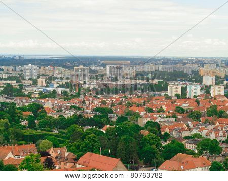 Aerial View From Tower Of District Gdansk Buildings And Sea.
