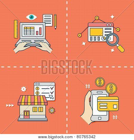 Set Of Flat Line Symbols For Online Shopping