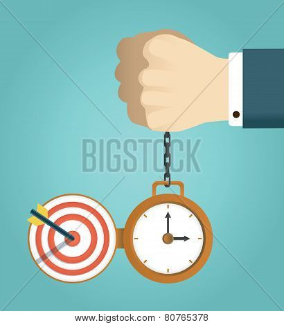 Vector Concept Of Deadline And Successfully Completed Work. Hand Holding Watch. Time Management, Sta