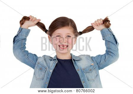 Funny little girl toothless pulling her pigtails isolated on a white background
