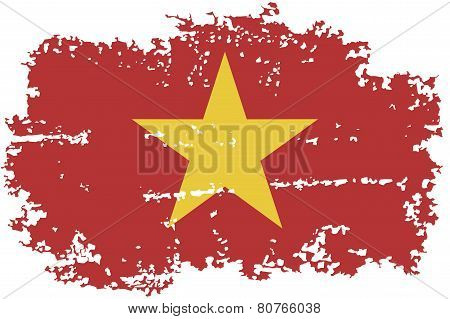 Vietnamese grunge flag. Vector illustration.