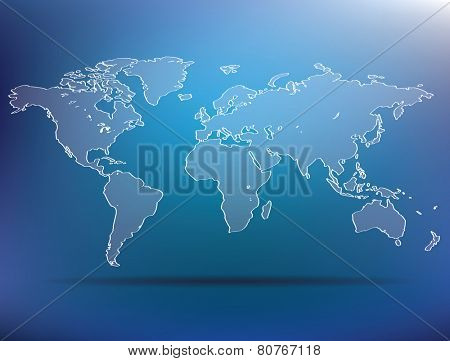 blue world map - vector illustration