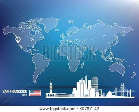 Map pin with San Francisco skyline - vector illustration