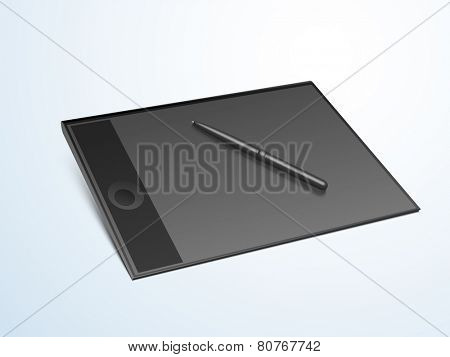Useful electronic device tablet pc with stylus on gradient background.