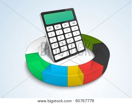 Electronic calculation device calculator in colorful statistic graph on gradient background.