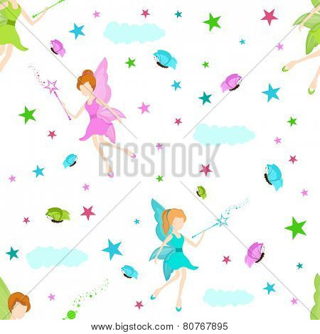 Stylish seamless background for fairy concept with colorful angel, stars, clouds, magic stick and butterflies.