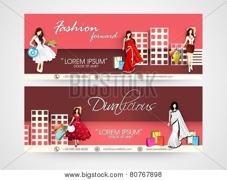Fashion headers with images of complexes, young girl or women wearing fashionable dress or saree with shopping bags.