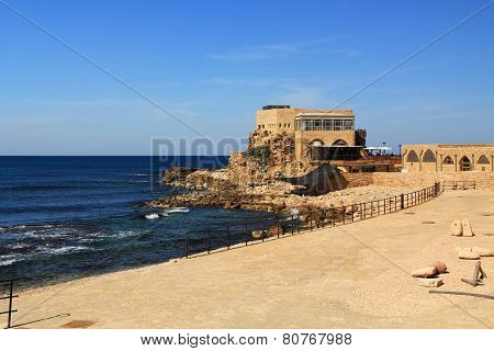 Restaurant by the harbor at Caesarea Maritima National Park