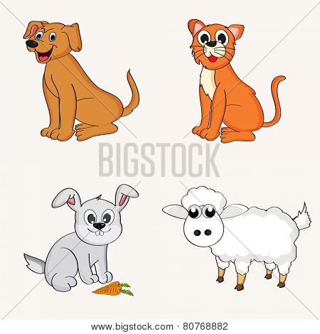 Set of cute happy cartoons of domestic animals like dog, cat, rabbit and sheep.
