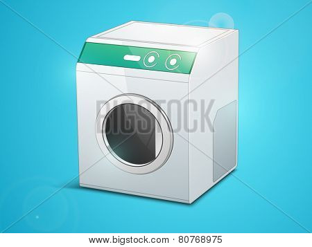 Glossy electronic household appliance washing machine on sky blue background.
