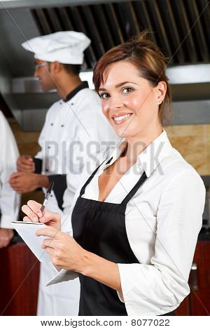 young happy waitress