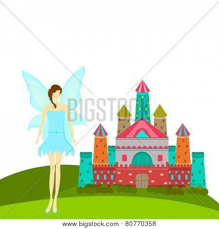 Beautiful young angel in stylish sky blue costume standing outside  colorful royal castle on white background.