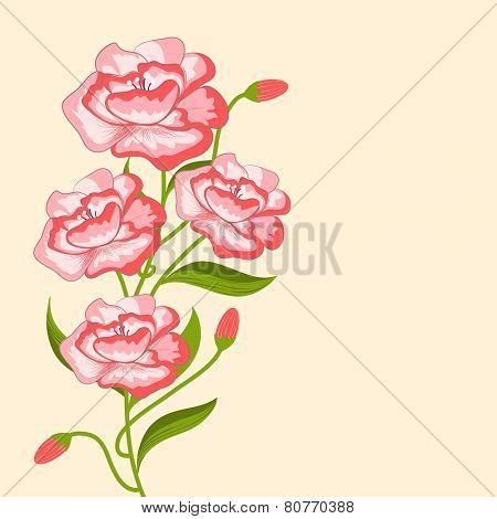 Vine of pink vintage flowers with buds on light orange background.