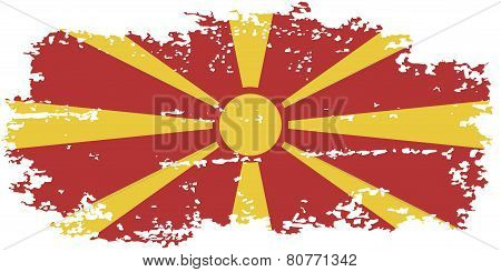 Macedonian grunge flag. Vector illustration.