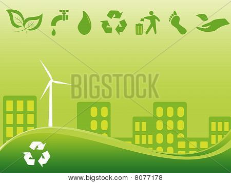 Green environmentally conscious city view