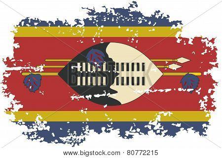 Swaziland grunge flag. Vector illustration.