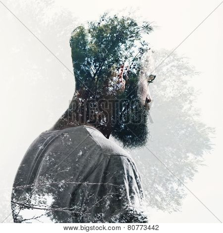 Double Exposure Of Bearded Guy And Forest