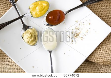 Close Up Condiments On Spoon