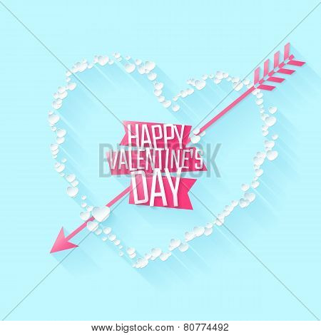 Happy Valentine's day greeting or invitation card with heart of paper particles and arrow. Vector il
