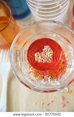 Gelatin With Colorful Heart In Glass
