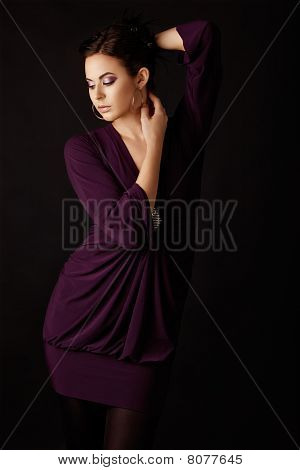 Fashion Model In Purple Mini Dress