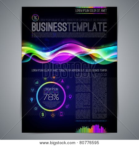 Vector template page design with colorful abstract shape
