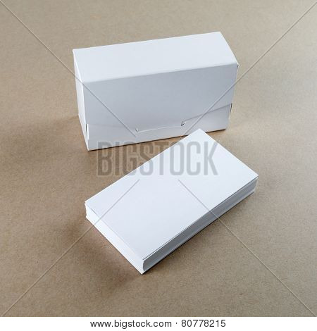 Business Cards And A Box For Them