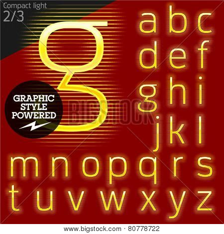 Techno style alphabet sensitive to the background. Compact light. Set 2