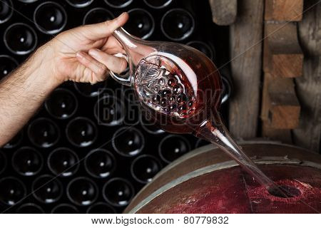 Sommelier Sampling Red Wine
