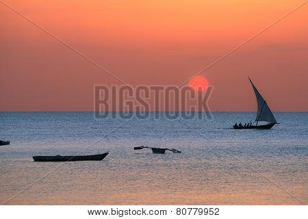 Traditional Dhow On Zanzibar Coast