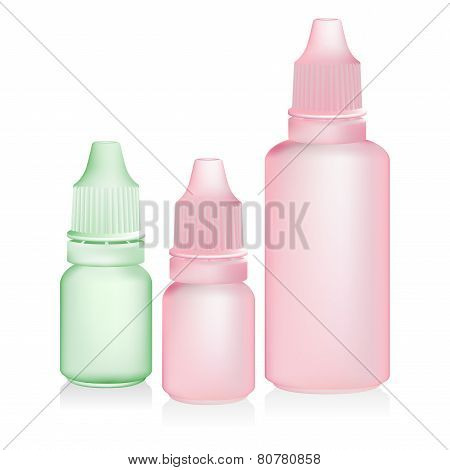 Green pink eye dropper bottle isolate on white background