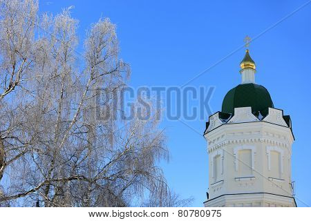 Pochaev's Lavra Cupola at nice winter day, Ukraine