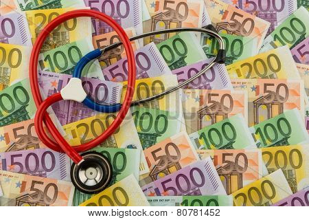 stethoscope and euro banknotes. photo icon for health care costs and health insurance for medical and