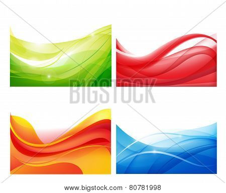 set of vector abstract colorful wavy backgrounds