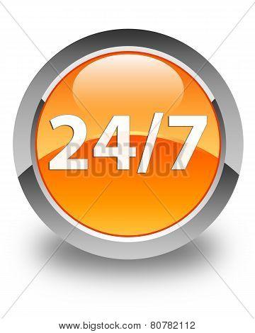 24/7 Icon Glossy Orange Round Button