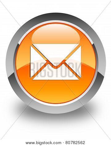 Email Icon Glossy Orange Round Button