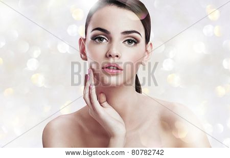 Beautiful sensual woman face, skin care concept